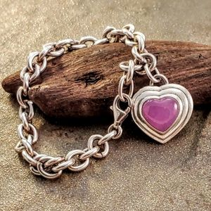 Jewelry - Sterling Amethyst Heart Charm Chain Bracelet